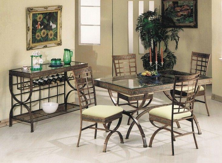 5 Pc Egyptian Bronze Patina Metal Rectangular Glass Top Table Dining Table Set Table Measures 36 X 6 Dining Table In Kitchen Dining Table Metal Dining Table