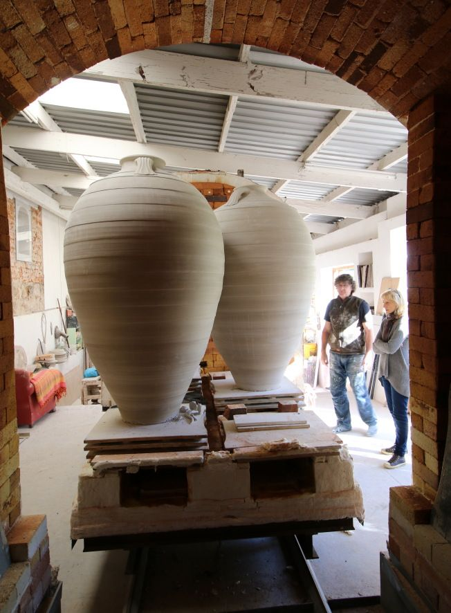 Looking out of the kiln to the trolley
