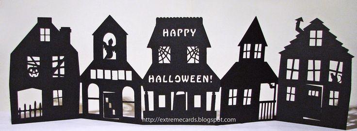 Fichier gratuit studio silhouette maisons en accordéon Halloween