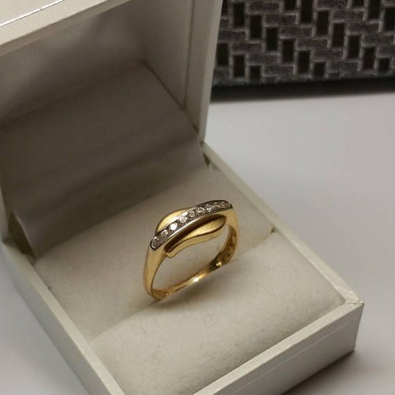 Ring Gold 585 Gold Kristalle Vintage edel GR401