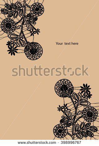 Black bobbin lace flower vector texture background for all. Eps10 #lace #bobbin #vector #shutterstok  #illustration #wedding  #retro #vintage