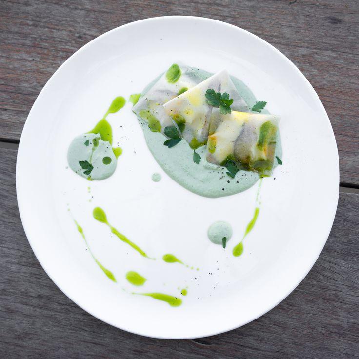 Almond Ricotta Ravioli with Shiitake and Basil Cream. From Matthew Kenney Culinary School. #vegan #plantbased #veganfood