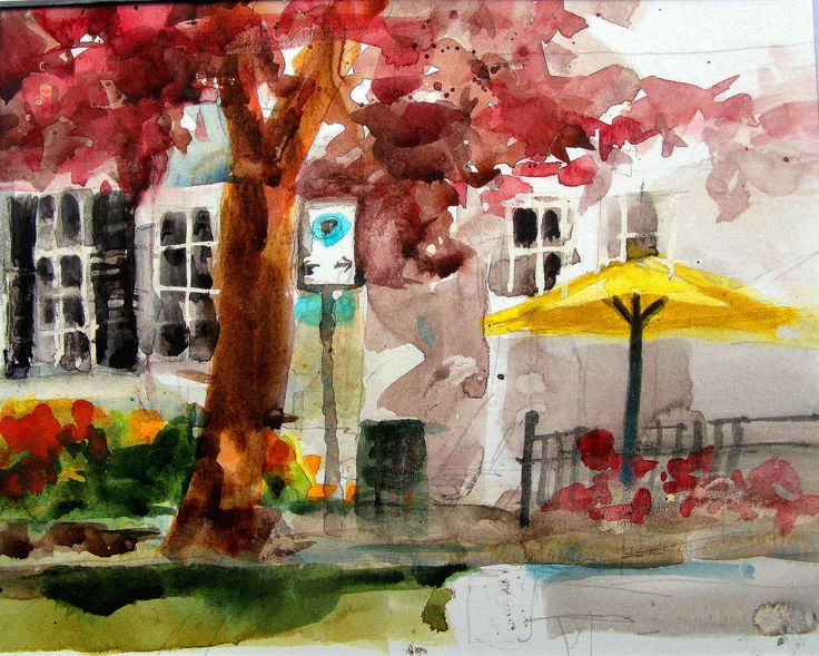 Watercolour.  Painted on location at Niagara-on-the -Lake. Canada