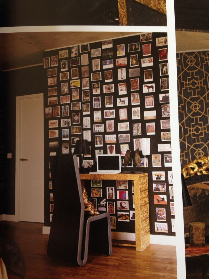 From a decorating book. It's the kinda photo wall that I want to start.
