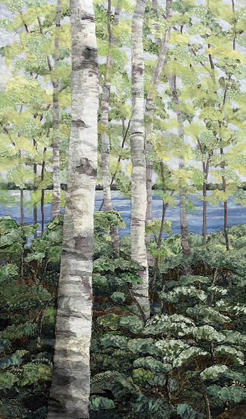 """Birches"" - sewn fabric collage by Merle Axelerad; ""Each of these textile art pieces are created by sewing thousands of fabric pieces together collage style to create the final fabric collage. Unlike traditional collage, Merle Axelrad uses no adhesives in creating her landscapes."""