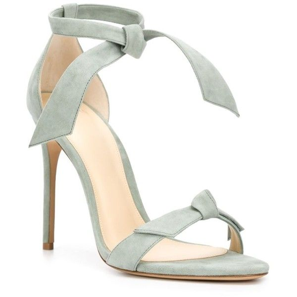 Alexandre Birman 'Patty' sandals ($890) ❤ liked on Polyvore featuring shoes, sandals, heels, suede sandals, light green shoes, heeled sandals, suede shoes and alexandre birman shoes