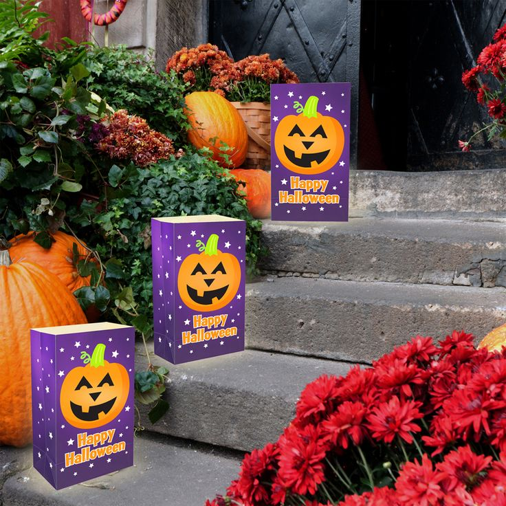 Line the walkway with fun Halloween Luminarias to light the way for the little tricker or treaters. www.lumabase.com