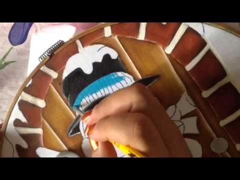 Pintura en tela sombrero y orejera de muñeco de nieve # 2 con cony