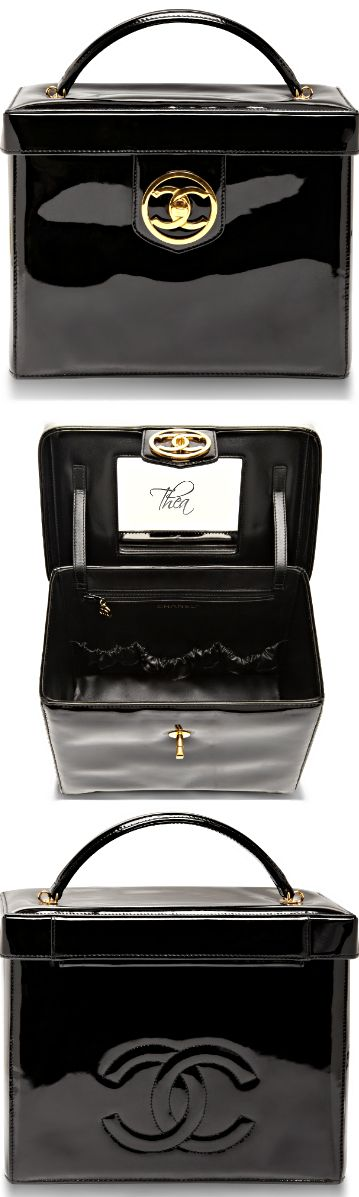 Chanel ● Vintage Black Patent Vanity Case I would use this as a Hand Bag !!!!