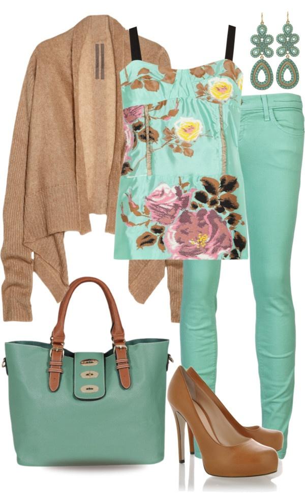 """Mint Jeans"" by yasminasdream ❤ liked on Polyvore"