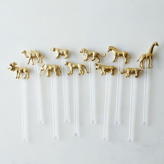 Drink Stirrers: brass animals