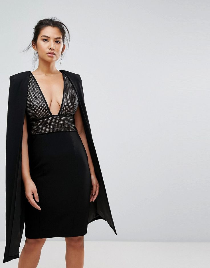 Misha Collection Structured Sequin Midi Dress With Cape Overlay - Blac
