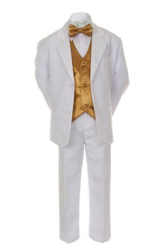 61b18ffecb1f Unotux 7pcs Boys White Suits Tuxedo with Satin Gold Bow Tie Vest Sets (S-20)