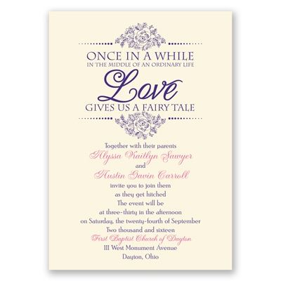 Fairy Tale themed wedding invitation. Once in a while in the middle of an ordinary life love gives us a fairy tale.  #fairytale #romantic
