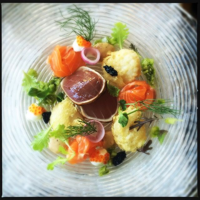 Cold seafood compilation with tuna & salmon