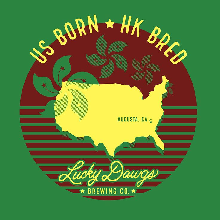 """2017 Augusta Masters Golf Shirt Design A t-shirt design created for the 2017 Masters Golf Tournament. Shirt says: """"US Born, Hong Kong Bred"""" and features the Hong Kong flag flower repeated behind an outline of the USA. Lucky Dawgs is a craft brewery based in Hong Kong, with origin roots in the US.  kelly green, burgundy, yellow, hong kong flower, flag, USA outline, vector"""