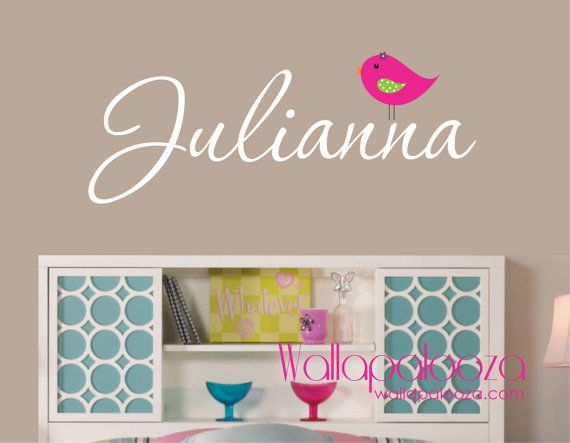 Girls Name Wall Decal - Childrens Wall Decals - Personalized Name Vinyl Wall Art- Bird Decal