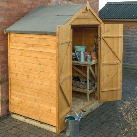 6x4 Overlap Dip Treated Apex Double Door Shed