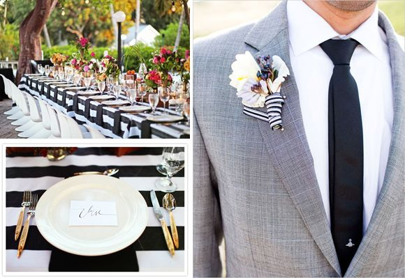 black and white striped wedding