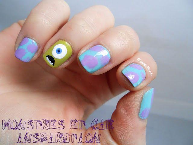 Monstres et cie, disney nail art, inspiration monstres, nailart