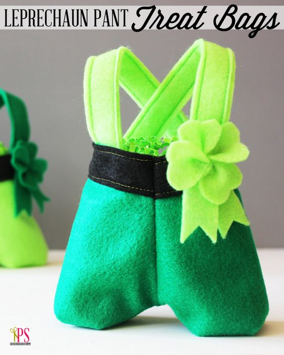Felt leprechaun pants treat bags featuring a felt shamrock accent for St. Patrick's Day. Free sewing tutorial and pattern.