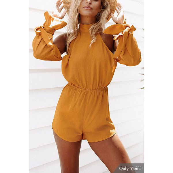 Yoins Halter Neck & Cold Shoulder Backless Playsuit in Yellow (33 AUD) ❤ liked on Polyvore featuring jumpsuits, rompers, yellow, yellow rompers, cold shoulder romper, brown halter top, playsuit romper and sexy romper