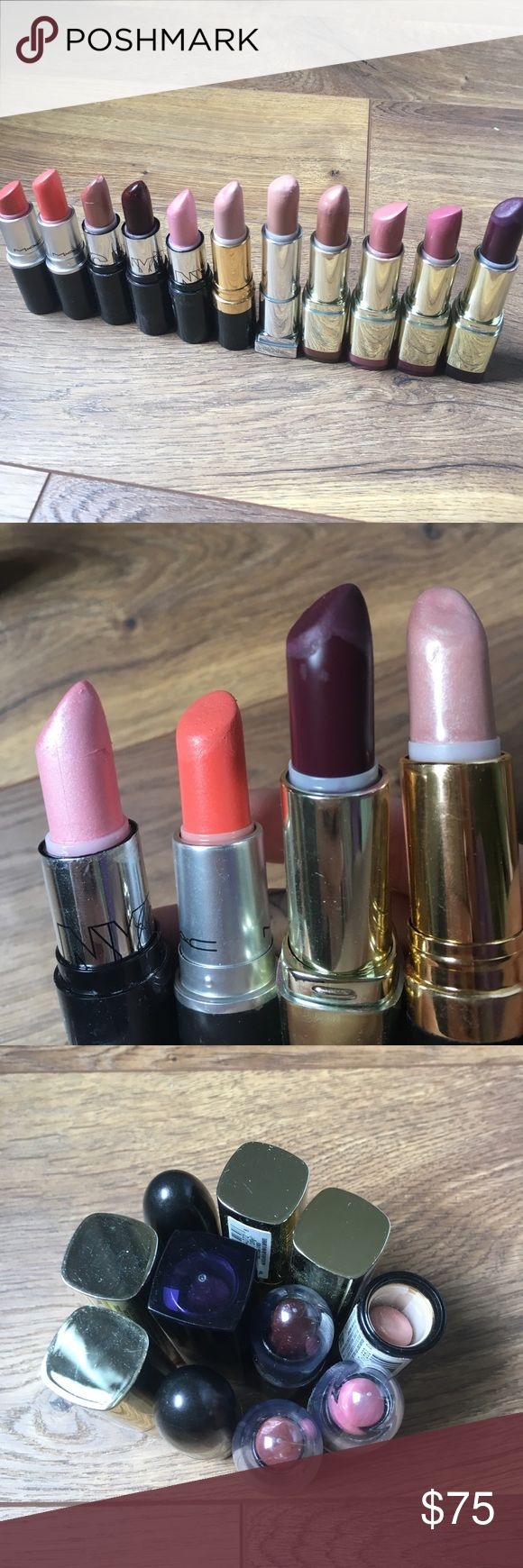 lipstick bundle ✨ MAC A55 Sushi Kiss & A72 Cremesheen Ravishing; NYC 320 Mahogany, 301 Cafe, & 312 Chiffon; Maybelline 755 Nude Thrill; Revlon Pearl 025 Sky Line Pink; Milani 55 Bahama Beige, 43 Pretty Natural, 26 Nude Creme, 70 Matte Fearless • will be sanitized prior to shipping • NOT TRADING OR MODELING • SERIOUS OFFERS ONLY PLEASE • LOWBALL OFFERS WILL BE BLOCKED   20% of all proceeds will go to ASPCA to help fight animal cruelty 🐶🐱🦊🐷 Makeup Lipstick