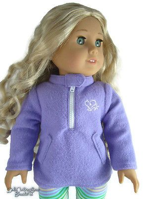 "MARKDOWN Purple Fleece Pullover Winter Jacket for 18"" American Girl Doll Clothes"