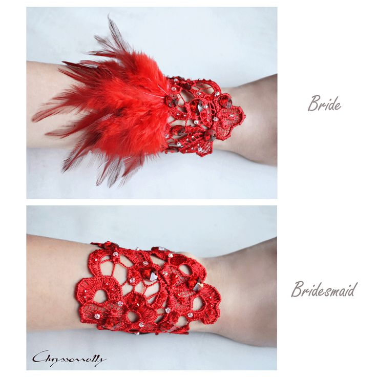 WEDDING | Chryssomally || Art & Fashion Designer - Gorgeous embellished red lace cuff bracelets for the bride and her bridesmaids, in a Valentine's themed wedding