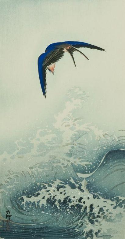 Koson Ohara Swallow over the Ocean Wave