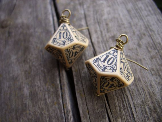 D100 steampunk dice earrings dice jewelry dnd by MageStudio