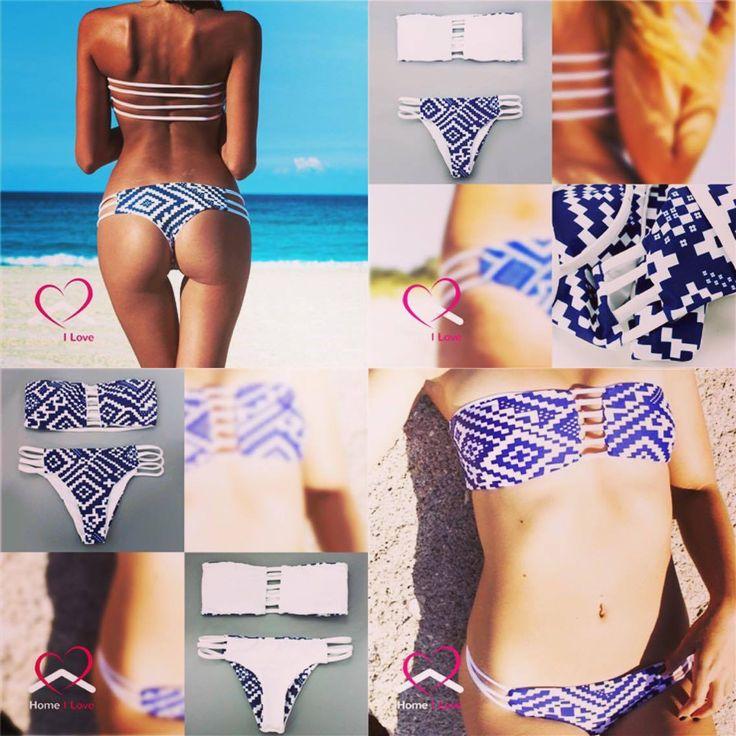 New Design Reversible Bikini Set Sexy Brazilian Strapless Bandeau Style Size M #bikini #swimwear #summer #love #swim #beach #style #online #store.