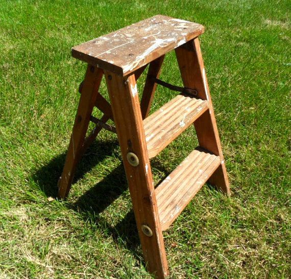 Old fashioned wood step stool /  rustic folding ladder / 22 inches tall