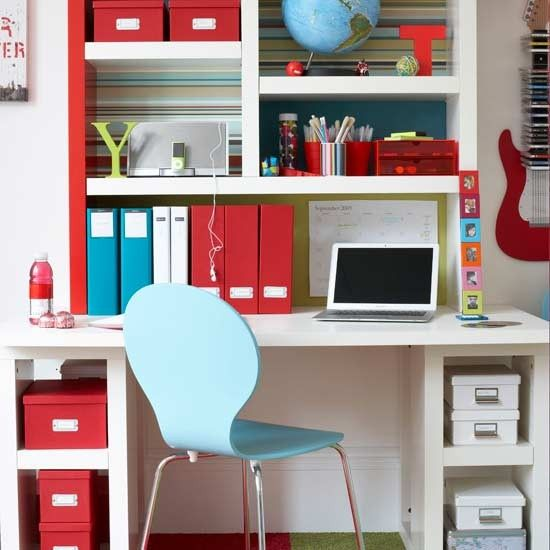 Loads of storage in a really small space.  A great little student friendly study area!