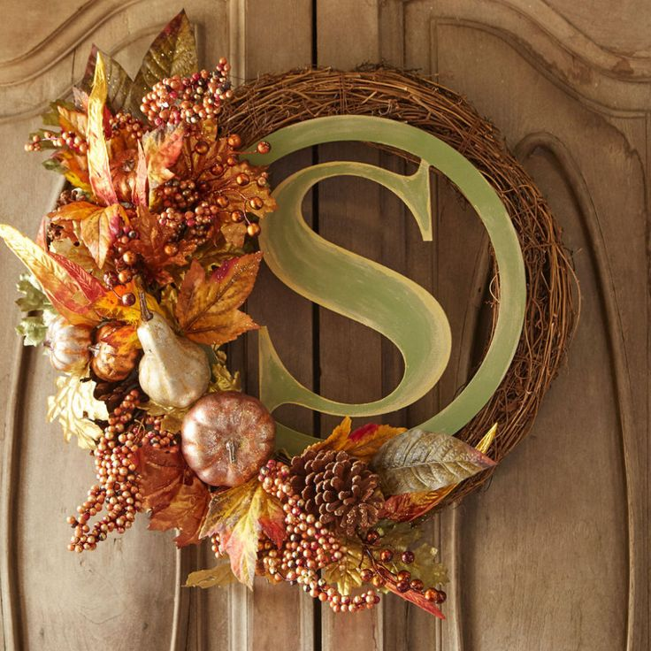 Fall wood initial grapevine wreath project from michael s
