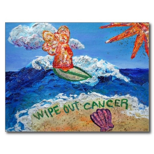 """The painting was made for a group fundraising for the American Cancer Society's """"Relay for Life"""". The booth theme was luau of """"Wipe Out Cancer"""". The painting shows a glimmering orange surfing angel on a blue ocean with a sparkling sun. Sea foam washes up on the sand surrounding the words """"Wipe Out Cancer"""".  Buy this as a postcard or see other cancer angel gift merchandise."""