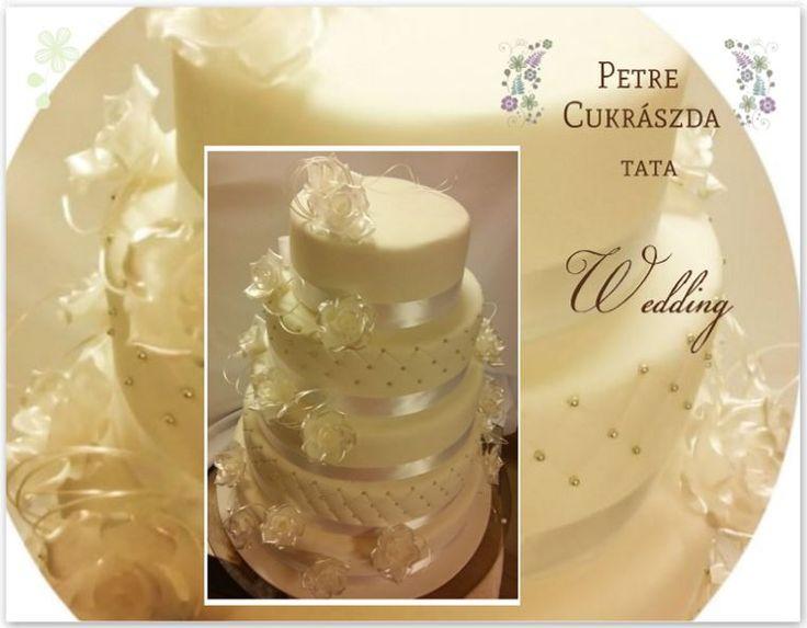 esküvői torta krém színekben - wedding cake in creamy colours