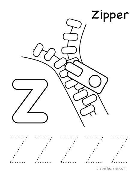 Letter Z for zipper tracing worksheet for children