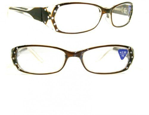 Brown Gradient Crystal Rhinestone Reading Glasses +2.50 by Crystal Case. $19.99. Read in style with these gradient color clear frame rhinestone adorned reading glasses. Glasses feature spring temples for flexible comfort and beautiful recessed rhinestones on the front and side of the frame!