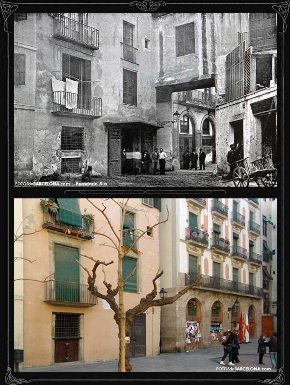 Fossar De Les Moreres, before and after. The bridge is now gone (Barcelona)