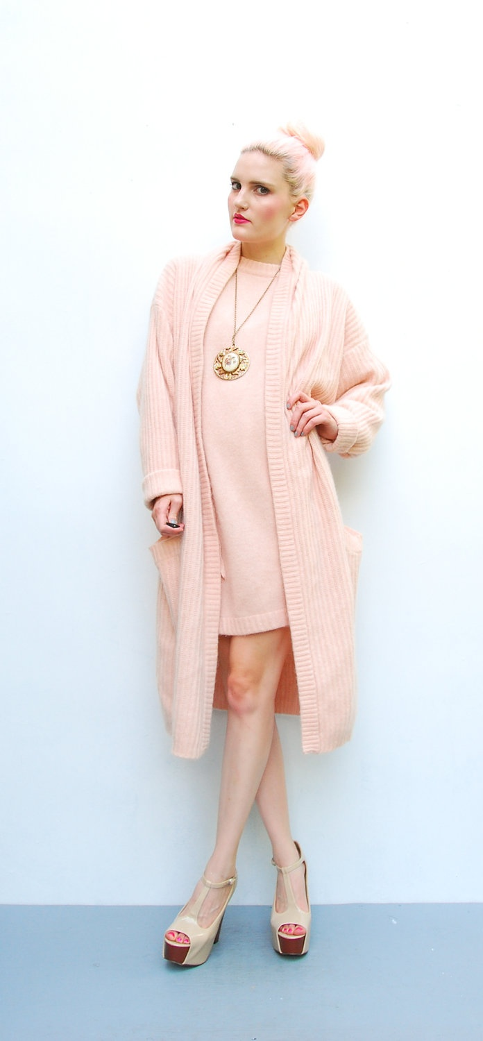 80s sweater pink angora sweater mini dress oversized long wool cardigan 1980s liz Style me pink fashion show