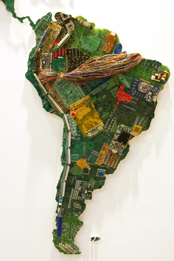 Susan Stockwell up-cycles with intense ingenuity. The parts the UK-based artist uses for each piece adds to the message she attempts to relay to the world. World is a giant world map made from recycled computer parts commissioned by the University of Bedfordshire. What began in 2010 is now completed with motherboards, electrical wiring, fans and other components donated by the people at Secure IT Recycling. Many of her works, including this one, are concerned with issues of ecology…