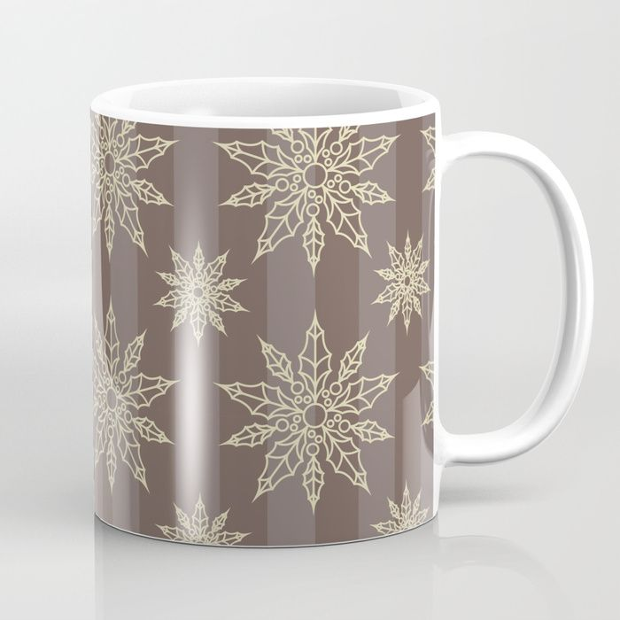 Brown and gold christmas snowflakes Coffee Mug