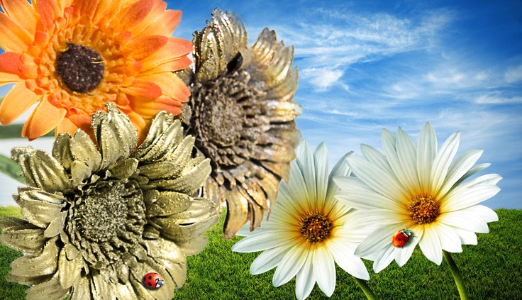 """Beautiful Spring flowers coated with shiny metal. """"Be aware of"""" the ladybug!!!"""