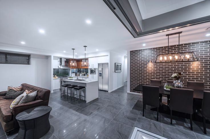#Feature #wall #ideas from #Ausbuild's Allendale #display #home. www.ausbuild.com.au. The coffee coloured #bricks on stunning #brick #feature #wall are perfectly suited to the feel of this #eclectic home.