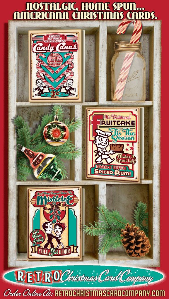 Christmas Cards that look like vintage tin signs. Cute, nostalgic, home spun...Americana. Order Holiday Signs Chirstmas cards $12. pack of 8: http://www.retrochristmascardcompany.com/category/holiday-signs/