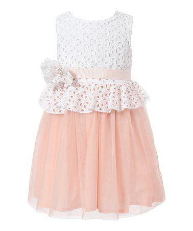 Look at this #zulilyfind! Peach Lace Dress - Toddler & Girls #zulilyfinds