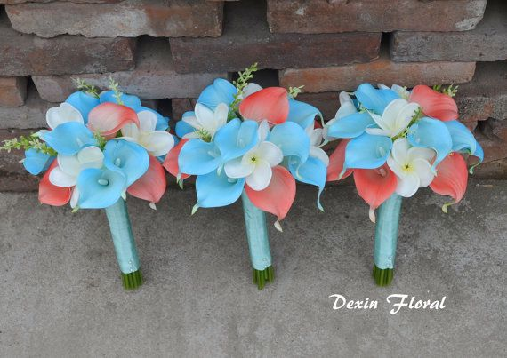 Bridesmaids Bouquets Real Touch Calla Lilies Aqua Coral Wedding Bouquets Silk Bridal Bouquets