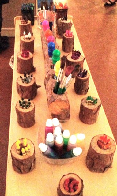 Fairy Dust Teaching Kindergarten Blog: Reggio Emilia: Color.  These tree stump holders are so cute.
