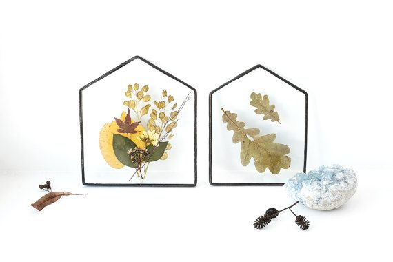 Scandinavian decor stained glass panels with oak and fall flowers and leaves botanical home decor herbarium pressed flowers decor